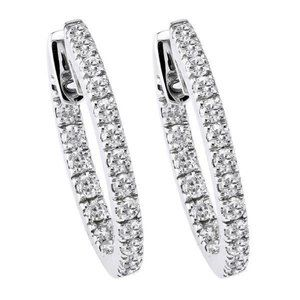 Jewelry - 4.80 Ct round cut diamonds lady Hoop earrings 14k